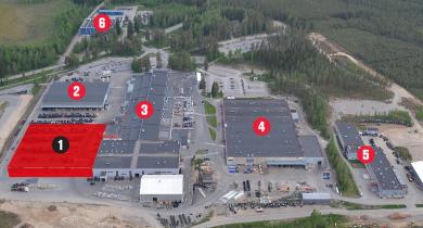 1 : Nouveau centre logistique. 2 : Studio Unlimited. 3 : Usine d'assemblage. 4 : Usine de transmissions. 5 : Bureau d'études. 6 : Centre d'entretien et de pièces détachées